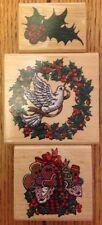 Lot of 3 Christmas Inkadinkado Rubber Stamps Wreath Mistletoe Gingerbread Cookie