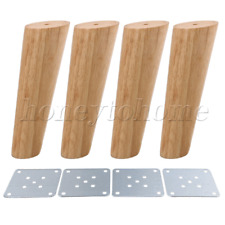 Oblique Tapered Wooden Furniture Legs 4P for Sofa Chair with Plate 18cm Height