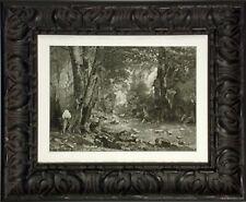 """Antique Engraving """"The Deer Cover"""" Late 1880s Photogravure Art, custom frame OBO"""