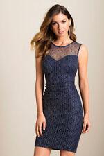 Lipsy Lace Bodycon Shift Dress 10 Navy Gold Metallic Glitter Evening Wedding