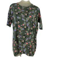 Lularoe Women's shirt top tunic green mini mouse pattern knit size small Disney
