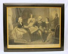 Washington and His Family Engraved Proof by Sartain ~ CIVIL WAR ERA ~ Framed