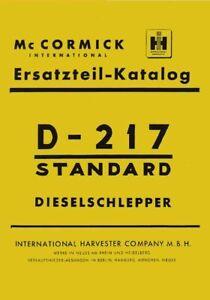 Ersatzteilkatalog D-217 Mc Cormick IHC D-Serie SO