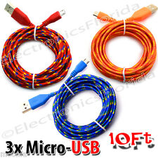 3x Charger Sync Cord Cable for Android Cell Phones Universal 10FT Micro USB @L