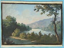 Tableaux Peinture Originale Gouache Paysage Romantique Monogramme XXe