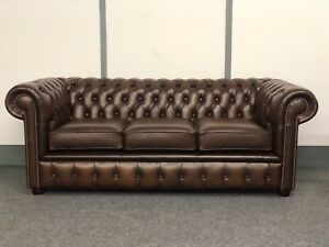 Chesterfield 3 Seater Sofa In Antique Brown Leather (Brand New)