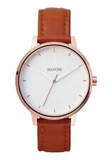 Nixon Kensington Leather Watch Rose Gold/White NEW in box