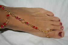 Bracelet 5 Pieces Of Jewelry In 1 Red and Gold Fancy Toe Ring and Ankle