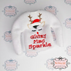Personalised Naughty Elf on the shelf Name Christmas Jumper Clothes Accessory