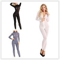 Women Sheer Smooth Jumpsuit Zipper Long Sleeve Bodysuit Lingerie Nightwear Rompe