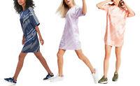 adidas Originals Womens Satin T-Shirt Dress Bandana Scarf Oversized Loose Short