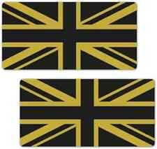 Union Jack Flag Black Gold 200mm Laminated Vinyl Car Van Motorcycle Stickers GB