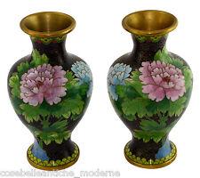 Coppia Antichi Vasi Cloisonnè Pair Antiques Potiches Old Chinese Vase Minguo 900