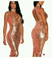 NEW ROSE GOLD SEQUIN SPARKLE BOUTIQUE DRESS SIZE  uk m 12