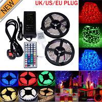 5M 10M RGB 5050 Waterproof LED Strip light 300 SMD 24 Key Remote 12V 5A Power UK