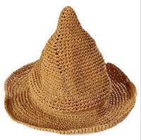 Summer Sun Beach Floppy Derby Folding Witch Hat Wide Large Brim Straw