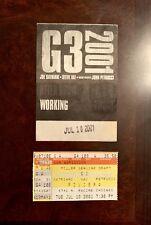 G3 2001 TOUR BACKSTAGE PASS & TICKET STUB - 7/10/2001 - RIVIERA THEATRE CHICAGO!