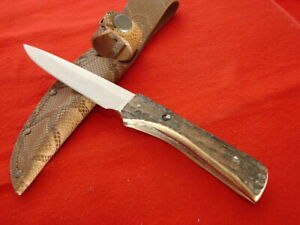 "Parham GA USA Custom 8.75"" Genuine Stag Fixed Blade Sheath Knife MINT"