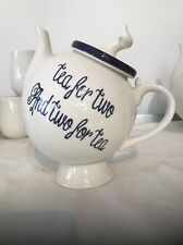 Tea For Two and Two For Tea Teapot Ceramic Decorative Quirky Design White Blue