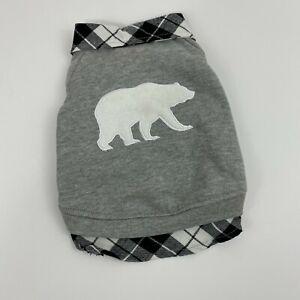 Top Paw Grey Polar Bear Dog Sweater Snapped Plaid New