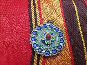 Algerian Moroccan sterling silver enamel necklace chain brooch red coral-berber