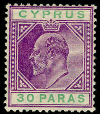 More details for cyprus sg63a, 30pa violet & green, m mint. cat £27.