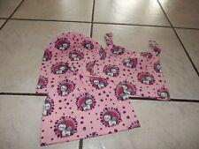 Knotenmützen+Beaniemützen  aus Jersey rosa mit Einhörner
