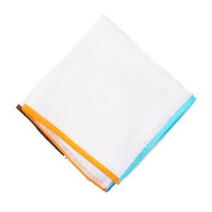 NWT RODA Multicolor Contrast Border Print Linen Pocket Square
