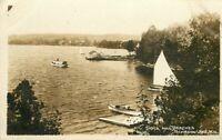 Boats C-1910 Dock Beaches Schroon Lake New York RPPC Photo Postcard 11113