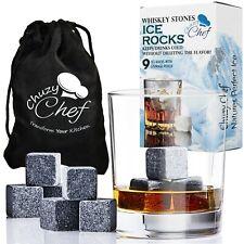 Whiskey Stones Ice Cube Rocks -Set of 9 Reusable Whisky Wine & Beverage Gift Set