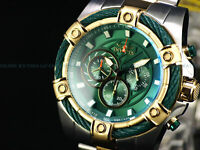 NEW Invicta 53mm Mens Bolt Quartz Chronograph TT 18K Gold IP Green Dial SS Watch