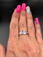 Beautiful Sterling Silver With Pink Fire Opal Inlay Ring #243