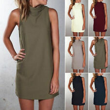 UK High Neck Womens Blouse Tops Summer Sleeveless Ladies Mini Vest Shirt Dress