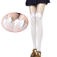 BLACK OR WHITE SATIN BOW MOCK SUSPENDER STOCKINGS TIGHTS