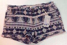 NEW JOLT Womens Shorts Size 13 Large Aztec Texture Print Elastic Waist Zip Pants