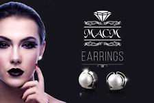 Macm Women 925 Sterling Silver Heart Earrings Stud Freshwater Pearl Cubic Zircon