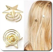 Set 10 Curlies Haarspiralen Sterne Spiralhaar Vergoldet Braut Hochzeit Stern