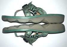 Earth Wander Women's Slide Thong Comfort Leather Sandals Size 12 B/M Teal Green