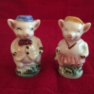 Vintage Empress Dressed Up Mr And Mrs Pig Set Of Salt Shakers Japan