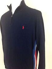 New Polo Ralph Lauren Navy 1/2 Zip Sweater Red White Blue Side Stripe Sz XL