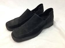 Ecco Shoes Mens 8 Suede Leather Black Slip On Comfort Casual Moc Mules