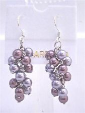 Grape Style Earrings Swarovski Grey and Purple Pearls Earrings