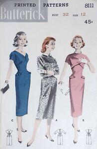 Vtg 1950s Butterick 8111 Hip Pocket Slim Empire Sheath Dress SEWING PATTERN 12