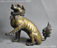 """10""""old Chinaese bronze Feng shui Foo dog lion statue Incense Burner censee"""