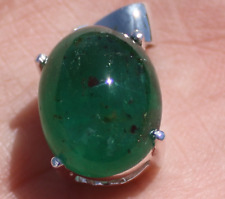 Zambian Emerald 10.00ct Platinum Finish Solid 925 Sterling Silver Pendant New