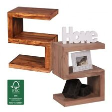 "Massivholz Beistelltisch ""S"" Cube Design Couchtisch Massiv Holz Modern Regal Neu"
