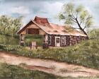 Farm and Country Store Oil Painting Gas Station Vtg Signed