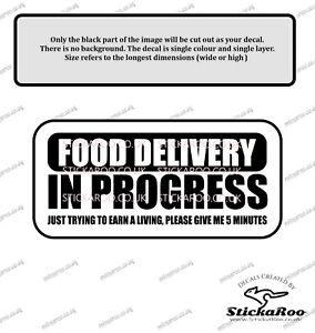 Food Delivery Back in 5 mins vinyl decal - courier - delivery driver