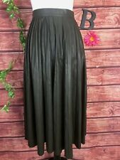 Zara Skirt Extra Small Olive Green Faux Leather Long Pleated Modest Stretch Full