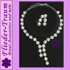 Hochzeit Schmuck Set mit Perlen / Strass,Kette + Ohrringe, Brautkleid Abendkleid